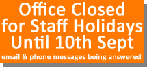 Closed for holiday until 10th Sept